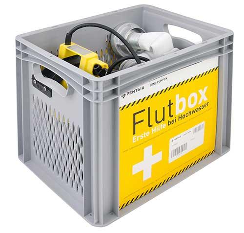 Flutbox-Set mit Tauchpumpe und Feuerwehrschlauch